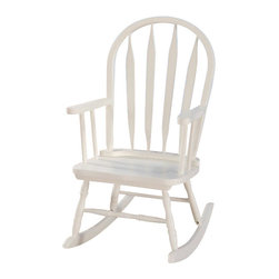 "Acme - Kloris Collection Slatted Back White Finish Wood Children's Size Rocker Chair - Kloris collection arch top slatted back white finish wood Children's size rocking chair. Measures 17"" x 20"" x 28""H. Some assembly required."