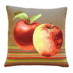 Pillow Decor Ltd. - Pillow Decor - Fresh Apples on Brown 19 x 19 Throw Pillow - Gala, Pink Lady or Honeycrisp — when you love nature's perfect fruit, you've got to let it show. This fun throw pillow showcases colorful apples on a crisp striped background. Made in French tapestry, it's a sophisticated yet relaxed accent piece that adds a sweet touch of autumn to any room.