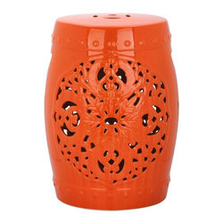 Safavieh - Valencia Garden Stool - Exquisitely crafted, the Valencia orange ceramic garden stool features a pierced leaf medallion motif of Asian inspiration. Replete with lucky coin top detail and ceramic nailheads, Valencia is a timeless beauty.