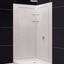 "DreamLine - DreamLine DL-6186-01 QWALL-4 Shower Base & Backwalls - DreamLine SlimLine 33"" by 33"" Quarter Round Shower Base and QWALL-4 Shower Backwall Kit"