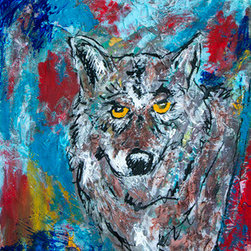 Wolf (Original) by Mike Brennan - For this piece I was exploring some mixed media techniques of using some tissue paper with acrylic and gouache. I chose this color palette to contrast how a wolf normally blends into it's surroundings with earthy colors. In mine, the wolf lives in a world of color. Paper, not canvas.