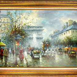 Consigned Paris Street Scene Oil Painting by J. Gaston - Oil-on-canvas painting of a Paris street scene by J. Gaston, signed bottom right. Beautiful light, expressive brushstrokes and changing leaves of fall. Displayed in a giltwood frame with linen liner.