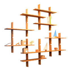 El Dot Designs - Bamboo Grid Locking Shelves, Large - Handcrafted Bamboo Ply pieces lock onto one another with simple lap joints to create our Grid Locking Shelves. They are modular - creating a small, medium or large wall shelf fit to highlight precious pieces, or keep a few books.
