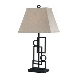 Lite Source - Lite Source LS-21207 1 Light Wrought Iron Table Lamp with Fabric Shade from the - 1 Light Wrought Iron Table Lamp with Fabric Shade from the Plato Series