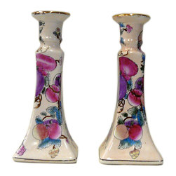 """Golden Lotus - Chinese Porcelain Pink Fruits Graphic Candle Holders, Set of 2 - Dimensions:  3.75"""" x 3.75""""x  h8.5"""""""