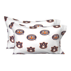 College Covers - NCAA Auburn Tigers Pillowcases Two-Pack White Set - Features: