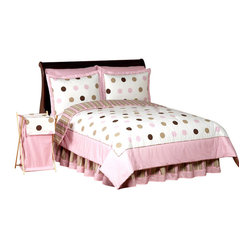 Sweet Jojo Designs - Pink & Chocolate  Mod Dots Kids Bedding Set - The Pink and Chocolate Mod Dots  Children's Bedding set will help you create an incredible room for your child. This modern girl bedding set combines ultra contemporary fabrics featuring an exclusive large polka dot print, mini dot and stripe. This collection uses the stylish colors of Pink, Cocoa, White and Chocolate Brown.