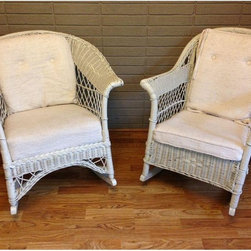 Vintage White Wicker Rocking Chairs - A Pair - This is a beautiful pair of vintage 1950's indoor porch rocking chairs with white upholstery.  They are structurally solid and rock smoothly. Note cushions are not an exact pair and look like they could use some re-upholersting. So shabby chic!