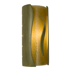 """A19 Lighting - Flare Modern Wall Sconce Sagebrush and Moss - This Cylindrical Wall Sconce Creates A Dazzling Effect As It Emits Light Through Openings At The Top And Bottom, And Radiates Rays Of Light From Perforations Along Both Sides. The Glazed Ceramic Shell Frames A Warm Colored Glass Made From Frit And Recycled Window Glass. A Three-Dimensional Ceramic Flare Positioned On Top Of The Glass Provides The Finishing Touch.Height:11.75Width:5.5Depth:4Mounting Center:6Bulb Type:60 Watt Candelabra E12 BaseNumber Of Bulbs:1American-Made, Energy Efficient, Low-Voltage Mini Pendant.Made From Re-Claimed Window Glass.Open On Both Ends Washing The Wall With Both Up And Down LightResistant To Rust And Corrosion.Ada Compliant (Americans With Disabilities Act 4"""" Regulation For Public Walks And Corridors)Due To The Handmade Nature Of A19 Products, It Is Not Unreasonable To Expect Slight Differences From Item To Item."""