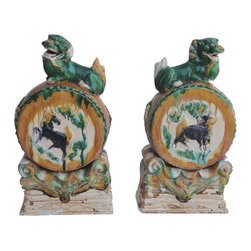 """Golden Lotus - Unique Pair Chinese Porcelain Hand FenShui Foo Dog Drum - This is a beautiful pair of porcelain foo dog. This pair of foo dog is different with regular foo dog, they don't hold a ball and baby, but each one is standing on a """"QiLin"""" drum.  It should be very unique to put at front of house or garden."""