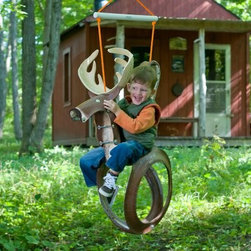 "Big Buck Tire Swing - The Big Buck Tire Swing offers hours of fun for any kid. This quality swing features an original buck design and is crafted from a recycled tire, cut and formed into a comfortable and exciting shape. It comes fully assembled and features a decay resistant nylon rope and 175lb weight capacity.About M and M Sales Inc.M and M Sales Inc. builds the highest quality tire swings available. Each piece offers a unique design and is designed for fun and safety. """"Inspiring Outdoor Adventures"""" is the company's motto and they stand behind their products and quality craftsmanship. The design of their swings inspire the imagination of little ones and offer a comfortable way to enjoy the outdoors."