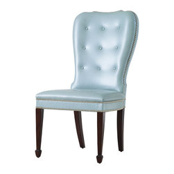 Charleston Chair - Blue with Walnut Finish Legs - Cowhide leather in a striking powder-blue pearl tone is tufted and wrapped over a mild hourglass back to create the vintage high class of the Charleston Chair. Beautifully accented by brass studs and a dark walnut finish on its legs, this side chair makes a dining room cozy and gracious, but brings trim historical style to a corner of the bedroom or living room with equal ease.