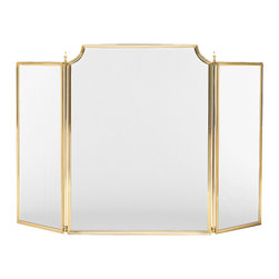 """Inviting Home - Large Fireplace Screen - 573/2 - large solid brass fireplace screen 59-1/2""""W x 36-3/4""""H hand-crafted in Italy This traditional fireplace screens are hand-cast from solid brass. Fireplace screens have lacquered finish and black mesh. These fireplace screens are hand-made in Italy."""