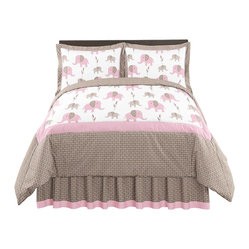 Pink Elephant 3-Piece Queen Bedding Set by Sweet Jojo Designs