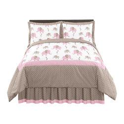 Sweet Jojo Designs - Pink Elephant 3-Piece Queen Bedding Set by Sweet Jojo Designs - The Pink Elephant 3-Piece Queen Bedding Set by Sweet Jojo Designs, along with the bedding accessories.