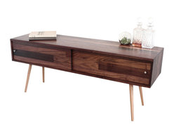 Jeremiah Collection - Walnut T.V. Stand With Sliding Doors - This simple design provides storage for all your hide-able media boxes / gadgets. The back is open for cables and air to flow freely. A back can be added for an additional $80.