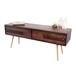 Jeremiah Collection - Walnut TV Stand With Sliding Doors - This simple design provides storage for all your hide-able media boxes / gadgets. The back is open for cables and air to flow freely. A back can be added for an additional $80.