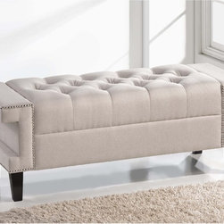 Baxton Studio - Baxton Studio Alfie Light Beige Linen Modern Tufted Bench - Enhance any room of your home with the all-around charm of the Alfie Tufted Bench. This useful piece is ideal as a bedroom bench,entryway bench,or ottoman.