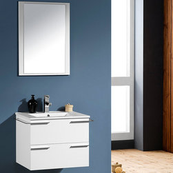 Fresca - Fresca Cielo 24 White Modern Bathroom Vanity w/ Mirror - Featuring a wall mounted design and a White finish for a fresh, modern look, the Cielo 24 vanity from Fresca is perfect for saving space in a small bathroom. Supplied with the ceramic sink, this high quality vanity provides a smart and practical storage solution for toiletries. Incorporating towels bars on either side, this vanity includes the matching mirror to complete the look. Cielo Bathroom Vanity Details:   Dimensions: Vanity: W 23.5 x D 18.5 x H 20, Mirror: H 29 x W 21.25 Material: Plywood with Veneer, Ceramic Countertop/Sink with Overflow Finish: White Towel bars attached to both sides Includes mirror Single hole faucet mount Please note: faucet not included