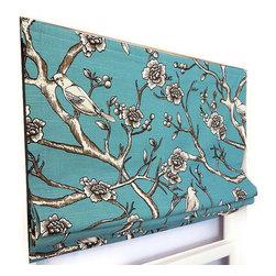 Vintage Blossom Jade Flat Roman Shade Custom Designed -