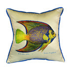 Betsy Drake - Betsy Drake Queen Angelfish Pillow- Indoor/Outdoor - Queen Angelfish Pillow- Large indoor/outdoor pillow. These versatile pillows are equal at enhancing your homes seaside decor and adding coastal charm to an outdoor setting arrangment. They feature printed outdoor, fade resistant fabric for years of wear and enjoyment. Solid back, polyfill. Proudly made in the USA.