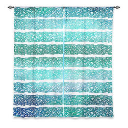 "DiaNoche Designs - Window Curtains Lined by Pom Graphic Design Paradise Leafs Blue - Purchasing window curtains just got easier and better! Create a designer look to any of your living spaces with our decorative and unique ""Lined Window Curtains."" Perfect for the living room, dining room or bedroom, these artistic curtains are an easy and inexpensive way to add color and style when decorating your home.  This is a woven poly material that filters outside light and creates a privacy barrier.  Each package includes two easy-to-hang, 3 inch diameter pole-pocket curtain panels.  The width listed is the total measurement of the two panels.  Curtain rod sold separately. Easy care, machine wash cold, tumble dry low, iron low if needed.  Printed in the USA."