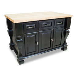 "Inviting Home - Sonoma Kitchen Island (distressed black) - Sonoma kitchen island in distressed black finish 53-1/2""W x 33-3/4""D x 35-1/2""H (1-3/4"" hard maple butcher block top sold separately) Kitchen island in distressed black finish. Kitchen island features soft-close under-mount slides on drawers soft-close European hinges and fully adjustable shelves. 1-3/4"" hard maple butcher block top sold separately."