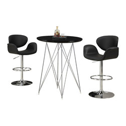 "Monarch Specialties - Monarch Specialties 2347 3-Piece Glassy Black Round Bar Table Set - Create a trendy contemporary look with this glossy black 36"" diameter bar table. This piece features sleek chrome metal legs and a smooth surface ideal for drinks and tapas. This table is great for entertaining guest especially in smaller spaces."