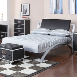 Coaster - LeClair Full Bed - A modern youth group, the LeClair bed shows off a sleek metal arch frame with a rich black vinyl headboard available in both twin and full size. Matching pieces feature a metal latch lever for easy drawer opening and allows each unit to be mobile.