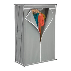 "46"" Z Frame Wardrobe - Honey-Can-Do WRD-02919 46"" Z Wardrobe, Gray. This 46-inch wide wardrobe and storage closet provides an amazing value for storing your garments, off-season clothing, and other hanging items. A heavy-duty steel rod provides 46-inches of hanging space while the breathable, lightweight mesh cover completely surrounds your garments, protecting them from dust and damage while in storage. Centered zip closures opens on both sides for easy access. Some assembly required."