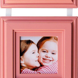 MyBarnwoodFrames - Baby Picture Frames SetThree 5x5 Pink Frames on Hanging Ribbon - Three 5x5 baby pink picture frames on a hanging ribbon. Frame photos of your newest addition, your daughter in her princess pink gown, or just print out the letters j-o-y and frame them next to your favorite pink-themed decor. Each frame is connected by an ivory hanging ribbon you can drape over a decorative curtain tieback. Perfect for your next baby shower gift, this colorful frame set is the perfect way to welcome a new little one into the family. Outside 1/4 inch of your image will be covered by the frame, so the viewable image opening is approximately 4.5 x 4.5 inches. Hand-finished with slightly distressed edges.