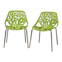 Baxton Studio - Birch Sapling Green Plastic Modern Dining Chairs, Set of 2 - This forest chair lends a modern touch of the beauty of a small grove of trees to your home.  The intricate cut-out design is ideal around a minimalist dining table or simply as a standalone chair in an entryway or extra room.  It is constructed with a sturdy spring green molded plastic seat atop a steel frame with a shiny silver chrome finish.  Black non-marking feet finish off the chair's chair is stackable, and assembly is required.