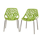 Baxton Studio - Birch Sapling Plastic Modern Dining Chairs, Green, Set of 2 - This forest chair lends a modern touch of the beauty of a small grove of trees to your home. The intricate cut-out design is ideal around a minimalist dining table or simply as a standalone chair in an entryway or extra room. It is constructed with a sturdy spring green molded plastic seat atop a steel frame with a shiny silver chrome finish. Black non-marking feet finish off the chair. This chair is stackable, and assembly is required.