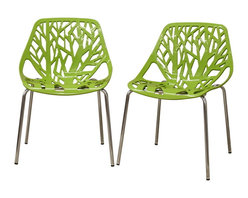 Baxton Studio - Baxton Studio Birch Sapling Green Plastic Modern Dining Chair (Set of 2) - This forest chair lends a modern touch of the beauty of a small grove of trees to your home. The intricate cut-out design is ideal around a minimalist dining table or simply as a standalone chair in an entryway or extra room. It is constructed with a sturdy spring green molded plastic seat atop a steel frame with a shiny silver chrome finish. Black non-marking feet finish off the chair. This chair is stackable, and assembly is required.