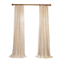 """Exclusive Fabrics & Furnishings - French Ivory Dupioni Silk Curtain - SOLD PER PANEL . 100% Silk .Lined . 3"""" Pole Pocket with Hook Belt .Dry Clean Only ."""