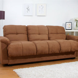 None - Multifunctional Microsuede Mocha Storage Sleeper Sofa Bed - Always have room for guests with this contemporary mocha storage sofa bed complete with drink compartments and a fold-down table. Featuring soft microsuede and a sturdy, hardwood frame, this sofa bed guarantees your guests will sleep in comfort.
