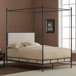 None - Lauren Full Metal Canopy Bed - Create a clean and classic minimalist look with this black metal canopy bed by Lauren. You will never want to leave your chic bedroom as you lie under a beautiful antique finish frame, and propped against a cream upholstery foam headboard.