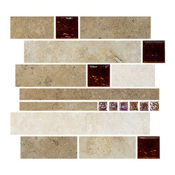"Backsplash - Travertine Subway Brown Glass Kitchen Backsplash Tile, 12""x12"" Sheet - Dark, medium and light color travertine colors mixed with 2""x2"" brown glass and small brown iridescent glass tiles. Subway travertine kitchen backsplash tile."