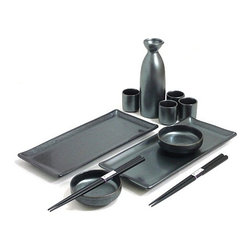 MySushiSet.com - Black Crystal Sushi and Sake Set - This distinguished sushi gift set would be lovely with red placemats and napkins that will show off the dark gleam of the handcrafted Japanese sushi set as this is the type of Asian tableware that can be dressed up for a special occasion.