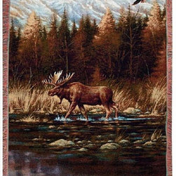 Manual - Autumn Memories Moose Print Tapestry Throw Blanket 50 Inch x 60 Inch - This multicolored woven tapestry throw blanket is a wonderful addition to your home or cabin. Made of cotton, the blanket measures 50 inches wide, 60 inches long, and has approximately 1 1/2 inches of fringe around the border. The blanket features a print of a North American moose crossing a stream on an autumn day. Care instructions are to machine wash in cold water on a delicate cycle, tumble dry on low heat, wash with dark colors separately, and do not bleach. This comfy blanket makes a great housewarming gift that is sure to be loved.