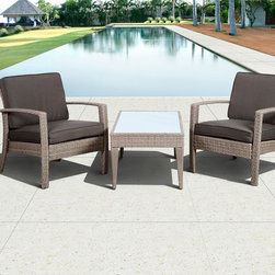 International Home Miami - Atlantic Corfu Deluxe 3 Piece Wicker Conversation Set Grey w/ Grey Cushions - Great quality  stylish design patio sets  made of aluminum and synthetic wicker. Polyester cushion with water repellant treatment. Enjoy your patio with elegance all year round with the wonderful Atlantic outdoor collection.