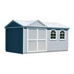 Handy Home Somerset Storage Shed - 10 x 12 ft. - The Handy Home Somerset Storage Shed - 10 x 12 ft. is one of Handy Home's most versatile buildings, and once you've found a place for your mower and rakes and pool supplies and that mountain bike that you were sure you were going to start riding, you're likely to agree. This solid wood structure has a classic, gable-style design built from solid wood with 6-foot high walls around an 8.9 foot peak that can handle your tall storage. The exterior of this structure is pre-primed at the factory and ready for paint, and the interior can be purchased with or without a floor, depending on your needs. The pre-hung doors can be located on any of the four exterior walls for your convenience and make an opening of 64W x 72H inches. Detailed assembly instructions and the required hardware are included. About Handy HomeSince 1978, Handy Home has been making it easy and affordable for their customers to add storage sheds, gazebos and playhouses to their homes. As North America's largest producer of wooden storage and recreational building kits, Handy Home makes durable structures that require no sawing or drilling and can be delivered when and where their customers need them.