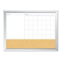 "The Board Dudes - The Board Dudes Magnetic Dry Erase 3-in-1 Board, Cork Area, 36""x24"" - Do more and keep organized with this combination board. Unique design offers three functions. Dry-erase calendar for planning, notes area, and cork board. Magnetic surface lets you customize with accessories, sold separately. Premium aluminum frame adds style and durability."