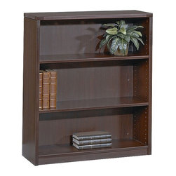 Office Star - Wood Bookcase w Three Adjustable Shelves & Fl - Color: CherryMade of Wood. Select hardwood veneers, book-matched. Solid hardwood edges. Radius wood edges on tops and modesty panels. Compound radius corners on tops. Common grain direction on tops of all components of L and U workstations. Pictured in Mahogany Wood. Some assembly required. 36 in. W x 14 in. L x 42 in. H