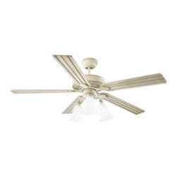 """Montecarlo - Monte Carlo MC-5OS52DWD Old School 52"""" Ceiling Fan Distressed White - Monte Carlo Old School Model MC-5OS52DWD in Distressed White with Grooved Distressed White Finished Blades."""