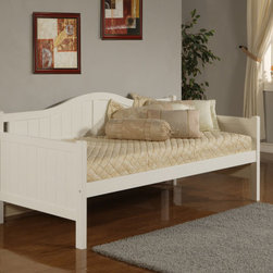 Hillsdale Furniture - Hillsdale Staci Daybed in White - Featuring a traditional cottage beadboard design and a classic arched silhouette  boasts three classic and versatile finishes: black  cherry  and white. Available with or without the trundle feature  this daybed is composed of solid wood and climate controlled wood composites. Minor assembly required.