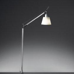 Tolomeo reading with shade floor, design by Michele De Lucchi, Giancarlo Fassina - Floor standing luminaire for adjustable direct and diffused LED, fluorescent, halogen or incandescent task lighting