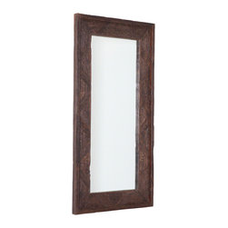 Studio A - Deer Valley Floor Mirror - Brown - The rustic patina of century-old, creosote-free Indian railroad ties is transformed into impressive mirrors. Hangs vertical or horizontal with metal wall cleats provided.