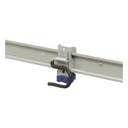 KV Kitchen & Bath Storage - Matrix Long Handle Hook - Rubber coated protection. Equipped with an anti skid rubber bumper for secure placement. Patent pending safety lock to keep the accessory locked. Installed in three different ways: screwed to a stud, fixed to a flat wall surface or attached to an easy installation hang rail. Limited warranty. Made from hardened steel and automotive grade plastics. Titanium finish. Capacity: 50 lbs.. 9.38 in. L x 4.25 in. W x 1.25 in. H. Assembly InstructionIt has a universal design to allow it to be used for several different items so that as your needs change over time, you can continue to reuse this universal accessory. Common uses include storing shovels, rakes, push brooms, edgers, pool skimmers, baseball bats, hockey sticks, mops and more.