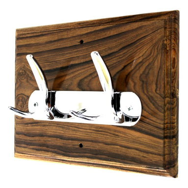 MarktSq - Wooden Hook Rack (Teak Wood) - This custom made wooden hook rack is made of teak wood and has an elegant hook in a shiny chrome finish. The wood has been polished and lacquered to highlight the wood grains. The edges are beveled adding to its style.